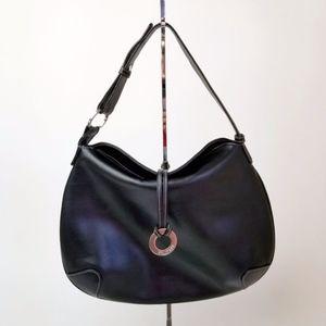 Equipage Paris Leather Hobo Handbag Black